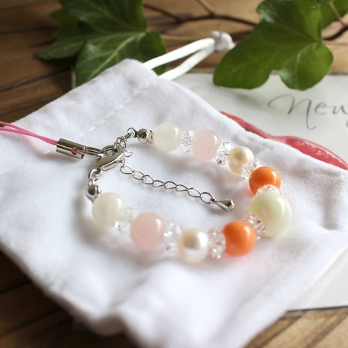 Bracelet type strap 'Child pregnancy A safe birth Baby Amulet Power stone Natural stone Childbirth pregnancy delivery baby baby bracelet strap Coral Coral power stone Natural stone