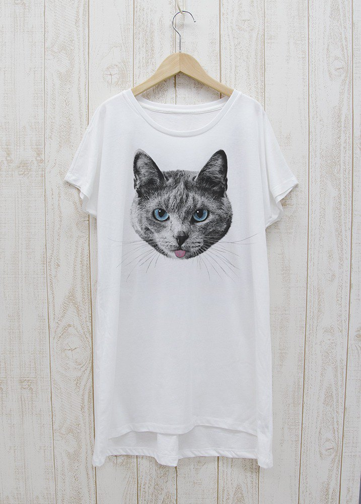 ronronCAT one-piece dress Tee Beh white / R020-O-WH