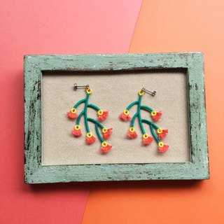 ARRO / Embroidery / Earrings / Branched / Orange
