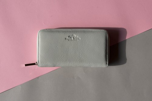 WOMEN MINIMAL LONG WALLET MADE OF SUPER SOFT COW LEATHER - DARK GREY