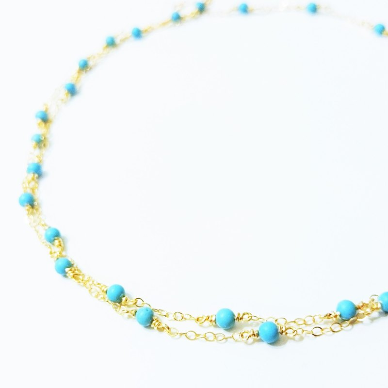 14kgf * 2WAY Turquoise station necklace / bracelet