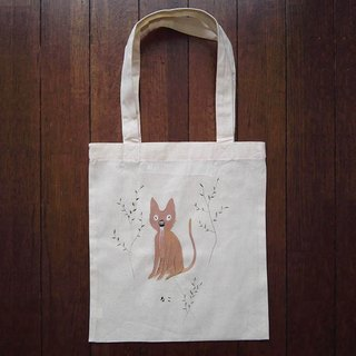 Hand-painted one point cotton bag cat illustrations