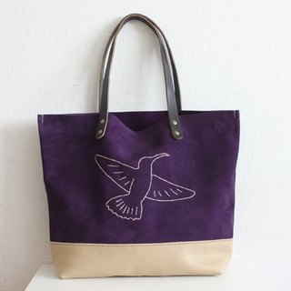 Tote bag / Hummingbird of velor of hand-sewn