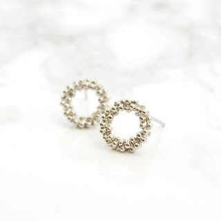 Earrings / Bubble circle Pierce / Ear Ring Foam Easy Ornament Item Silver