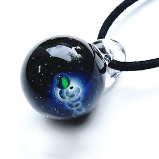 The world of the universe that shines blue. Glass pendant with black opal Star planet Universe