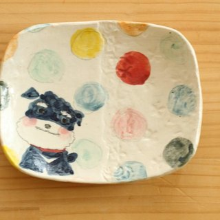 ※ Order Production Powder Drawing Colorful Dot and Miniature Schnauzer Square Cake Dish.