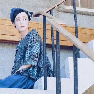 棉麻拼布藏蓝后绑带上衣//tibetan blue bandage back detail top in linen