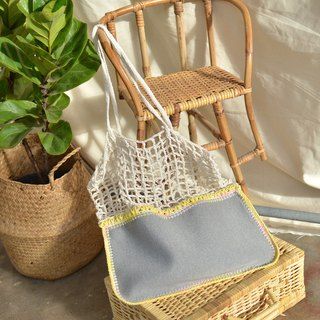 Grey white Gradie crochet bag