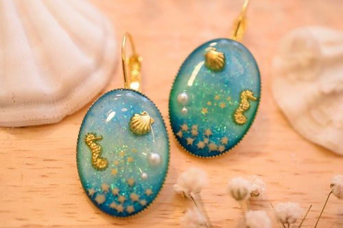 NEW!! Cute & Beauty Sea Ocean Blue Earrings Resin