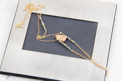 橘色石英波希米亚风14KGF长链/ Druzy gemstone nugget BOHO style 14KGF necklace