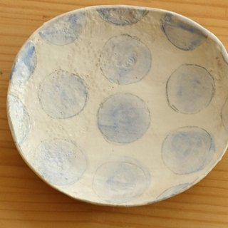 Powder baby blue dot oval dish.