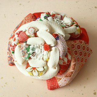 "[Large ribbon / white and white camellia] ""new color"" knob crafted hair ornaments seven hundred fifty-three"