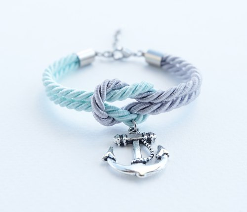 Light gray/Light mint knot rope bracelet with anchor charm