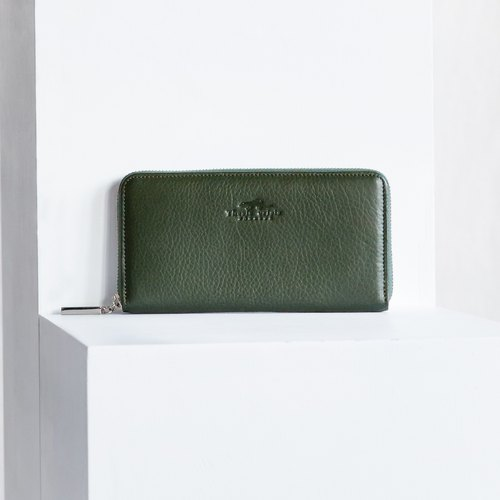 LUCKY - MINIMAL SOFT COW LEATHER WOMEN LONG WALLET-GREEN