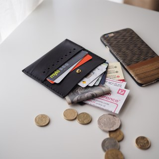 Leather Card Holder: The Ringwood Leather Card Holder - L028 with flap - cow leather, card holder, leather case, hand sewn, slim case, black, gift, personalised, unisex, card wallet, cow leather, 黑色,牛皮,卡包,錢包,卡套,禮物,訂製,情侶裝,手工縫製,中性