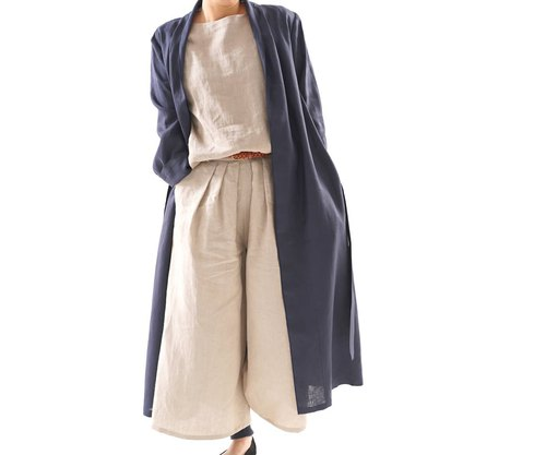 Linen coat mellow lobe long length coat / navy / b 14 - 16