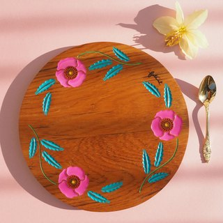 Poppy Crown Teak Tray (Pink and Teal)