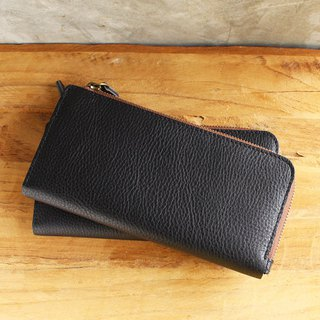 Leather Wallet - X1 - Black (Genuine Cow Leather)/Mobile Phone bag/Long Wallet
