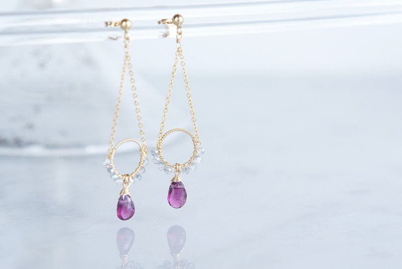 【14 KGF】 Rhodorite Garnet Earrings-B-