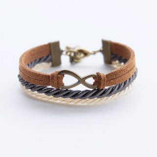 Brass infinity in Cinnamon suede Charcoal and cream rope