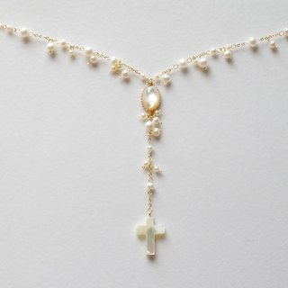 Freshwater pearl and shell of the Y-shaped white necklace (Gold)