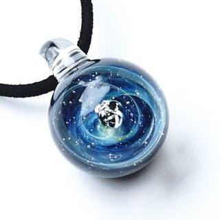 Meteorite Blue World Gibeon Meteorite Glass Pendant Space Planetary Star 【送 料 無 料】