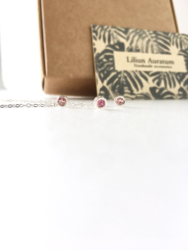 Pink Tourmaline bezel stud-earring and necklace all SV925 set-up for gift