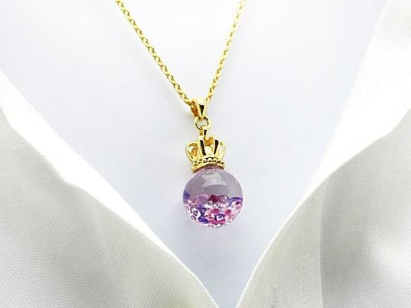 Bijou Glass Ball Gold Crown S Pendant Purple Red Stone color