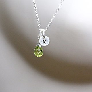 Peridot + Initial Silver necklace (#2)