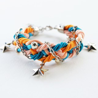 Blue Orange Peach braided bracelet with silver color materials and stars