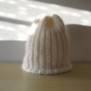 Mohair's rib knitted hat / white knitted hat Made-to-order production