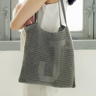 Customized Alphabet Crochet Tote Bag | Stone
