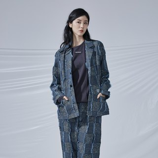 DYCTEAM - Plaid Jacquard Blazer 丹宁缇花3D格纹西装外套