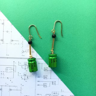 【Electronic parts】 Swaying condenser Earrings - Green -