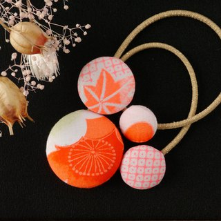 Happy hair ornament Kimono hair rubber 2 entrants Autumn leaves sentence