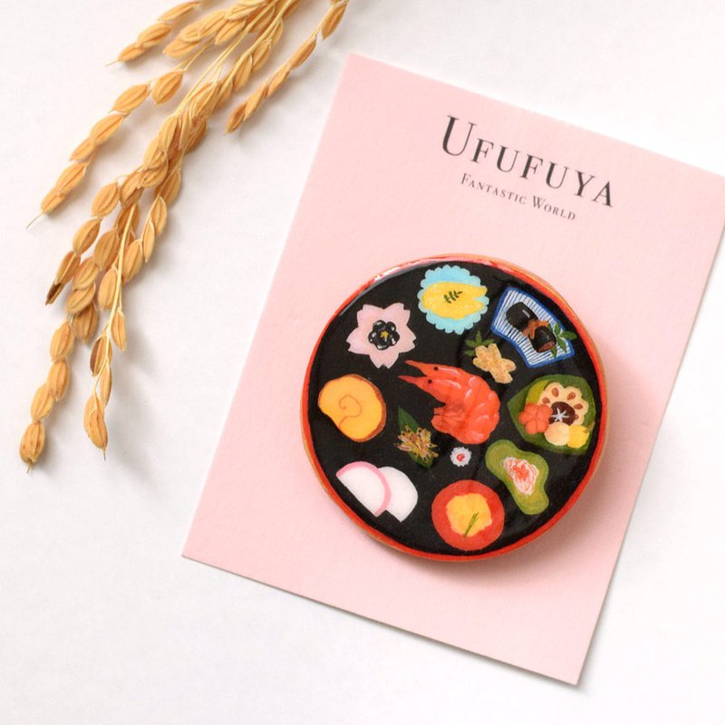 Osechi dishes brooch, Japanese food, Fantastic brooch