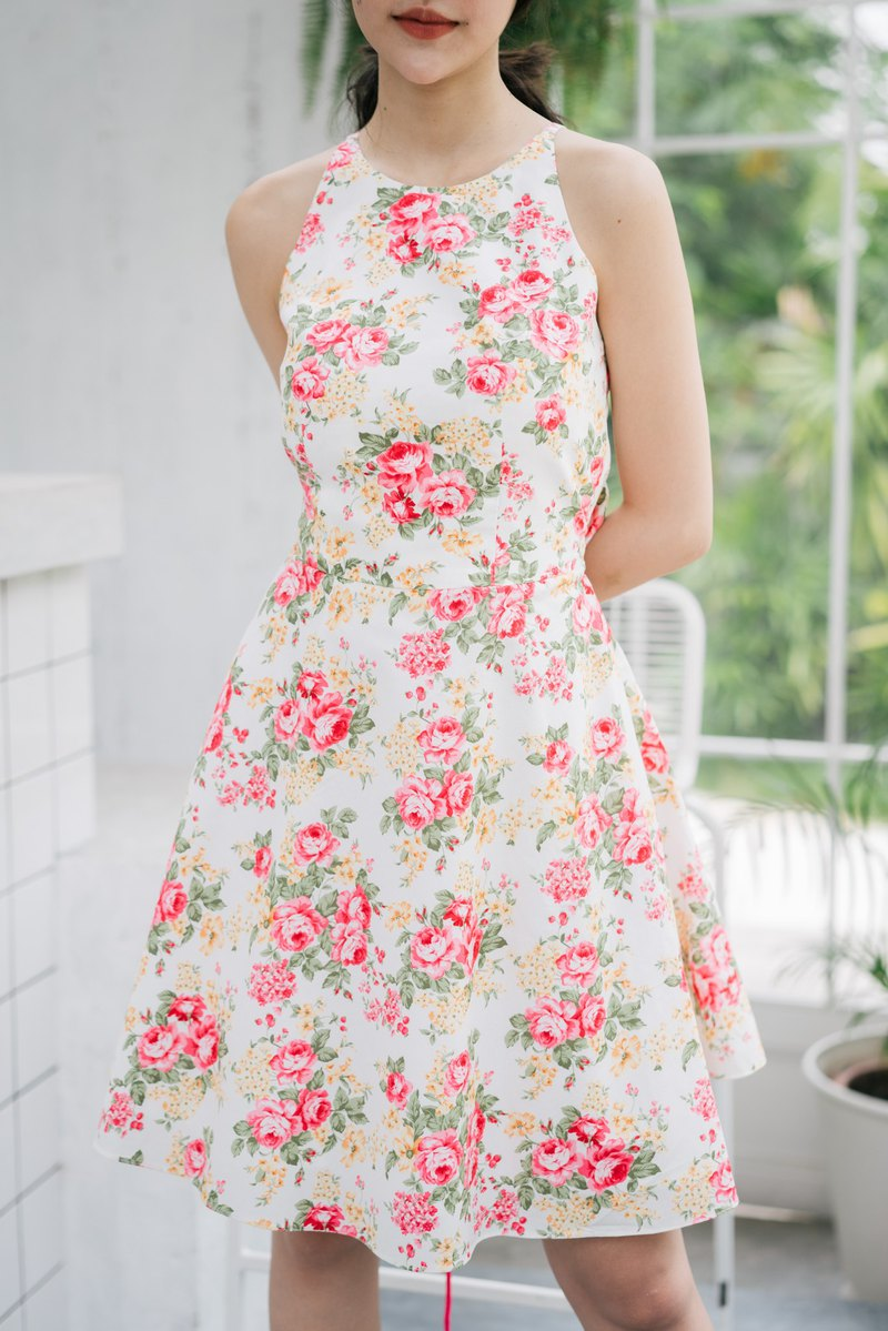 Party Dress Floral Dress Crisscross Backless Dress Cotton Dress Vintage Style
