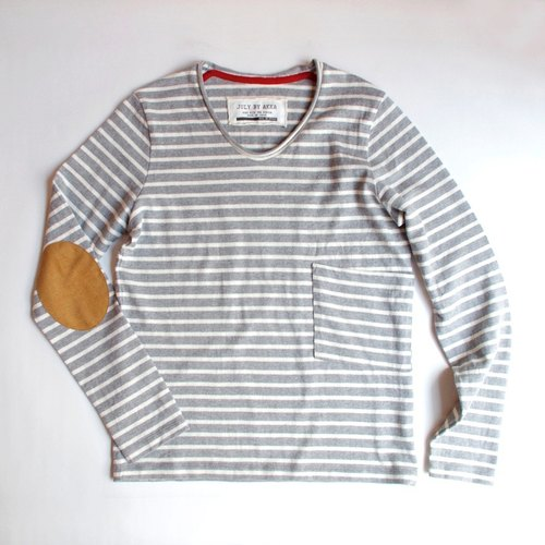 [Made in Japan] border pocket Ron T (gray × off white)