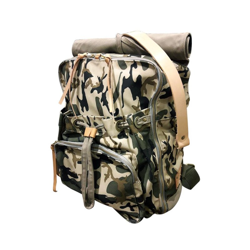 上蜡帆布迷彩后背包 / Urban Camouflage Backpack / 迷彩绿(卡其底) / L / 限量款