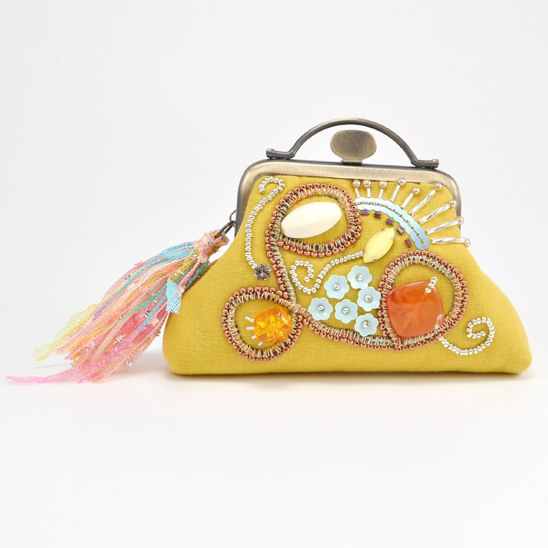Sparkle and statement purse, yellow purse,embroidered purse, 8