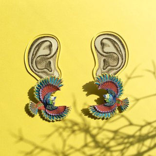 ARRO / Embroidery earring / Flying bird / multi-color