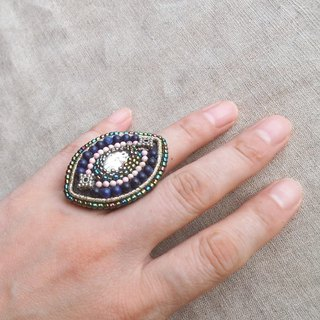 [Beads embroidery] Oval ring