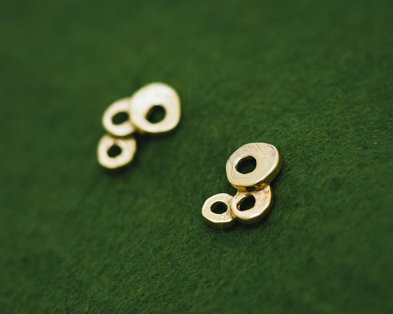 Bubbles gold plated earrings - Three cute japanese bubbles - wabi sabi