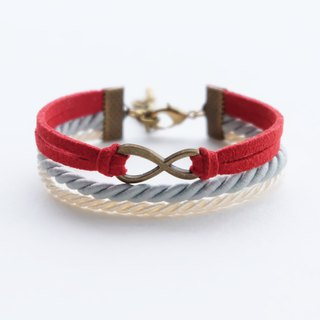 Brass infinity in Red suede Matte ash and Cream rope