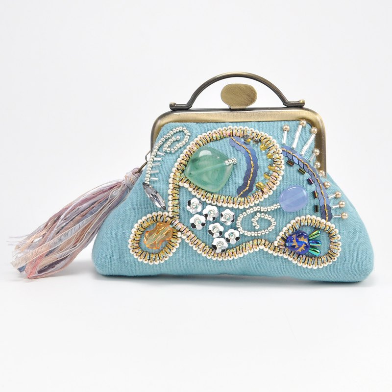 Sparkle and statement purse, blue purse,embroidered purse, 9