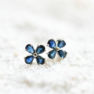 Charisma nature, victory luck, money luck, etc. Increase clover blue sapphire stud earrings September birthstone