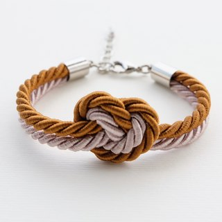 Heart knot rope bracelet in light brown and cinnamon brown