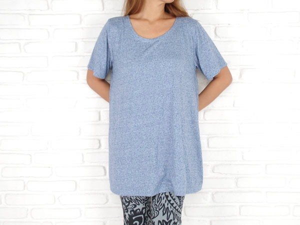 Simple A-line tunic <Blue>