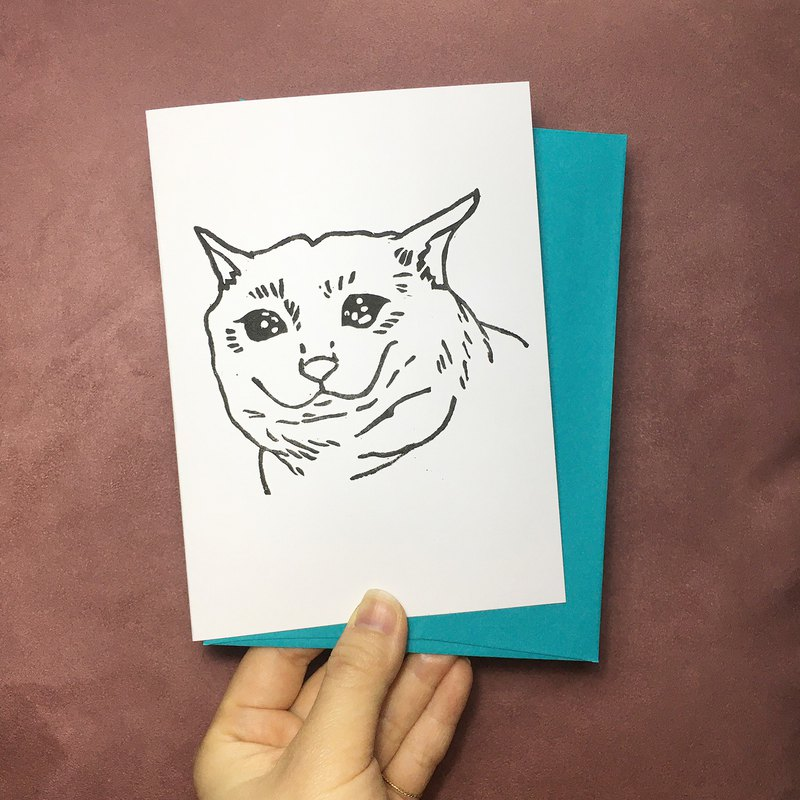 Hand-printed card - Sad Cat Meme