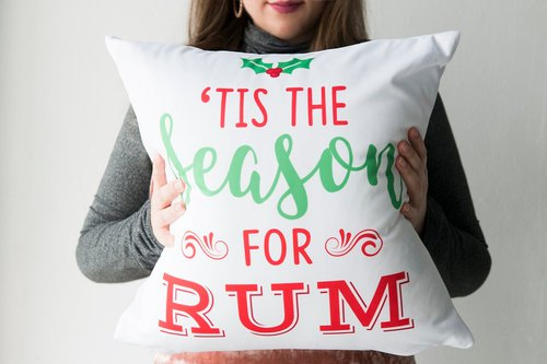 Tis The Season For Rum - Cute Holiday Pillow - Red & Green